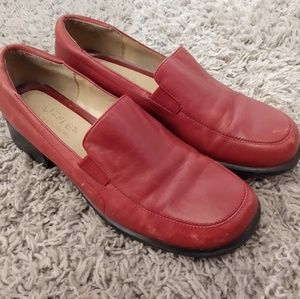 Liz Claiborne red leather loafers